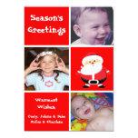 Tarjeta roja del día de fiesta de Navidad Santa de Invitación 12,7 X 17,8 Cm