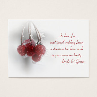Tarjeta roja del favor de la caridad del boda del