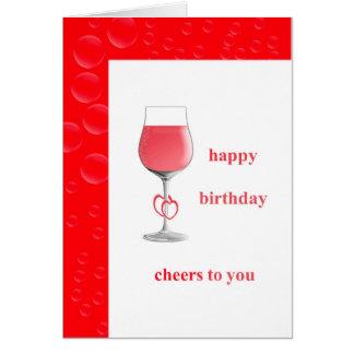 Tarjeta roja del feliz cumpleaños de los corazones