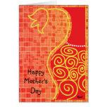Tarjeta roja del florero del día de Monthers