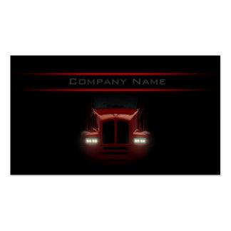 Tarjeta roja del frente del camión del diseño negr plantilla de tarjeta de visita