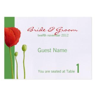 Tarjeta roja del lugar de la manzana de la amapola tarjetas de visita grandes