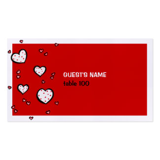 Tarjeta roja del lugar de los corazones manchados tarjetas de visita