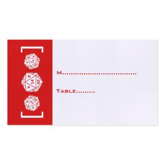 Tarjeta roja del lugar del boda del videojugador tarjetas de visita
