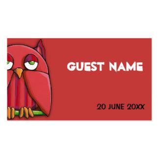 Tarjeta roja del lugar del cumpleaños del búho roj tarjeta de negocio
