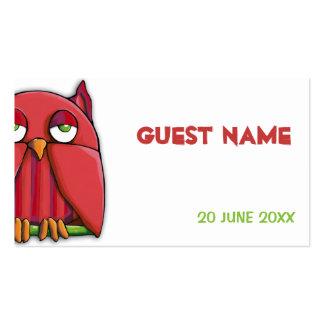 Tarjeta roja del lugar del cumpleaños del búho tarjetas de visita