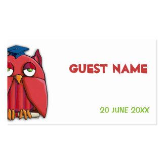 Tarjeta roja del lugar del graduado del búho tarjetas de visita