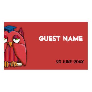 Tarjeta roja del lugar del graduado rojo del búho tarjetas de visita