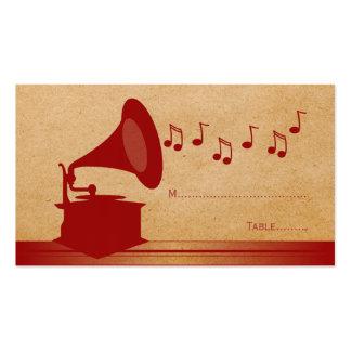Tarjeta roja del lugar del gramófono del vintage tarjetas personales