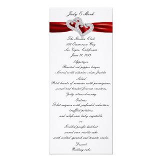 """Tarjeta roja del menú de la cinta de los corazones invitación 4"""" x 9.25"""""""