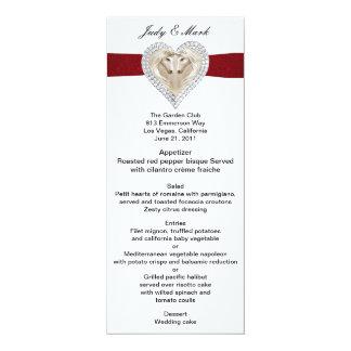 """Tarjeta roja del menú del boda del cordón del invitación 4"""" x 9.25"""""""