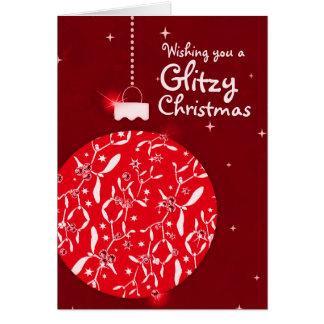Tarjeta roja del navidad de la chuchería glamorosa