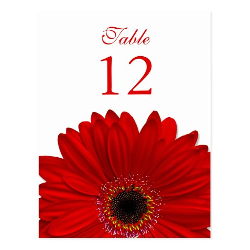 Tarjeta roja del número de la tabla de la postal