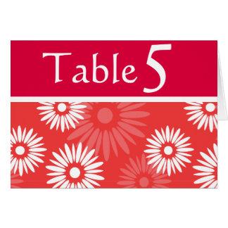 Tarjeta roja del número de la tabla de las flores