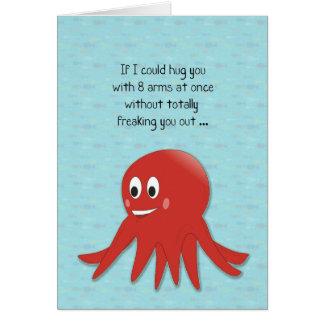 Tarjeta roja del pulpo de la tarjeta del día de Sa