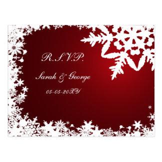 tarjeta roja del rsvp del boda del invierno postales