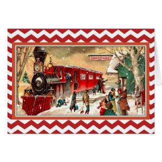 Tarjeta roja del tren del navidad del vintage