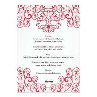 """Tarjeta roja elegante del menú del boda de invitación 5"""" x 7"""""""