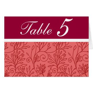 Tarjeta roja floral elegante del número de la tabl