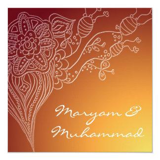 Tarjeta roja islámica de la invitación del boda