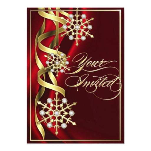 Tarjeta roja Jeweled del día de fiesta del copo de Invitación 12,7 X 17,8 Cm