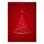 Tarjeta (roja) mágica del árbol de navidad