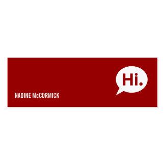 Tarjeta roja moderna del perfil tarjetas de visita mini
