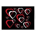 Tarjeta roja y blanca del corazón del recorte