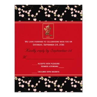 Tarjeta roja y negra de RSVP de las flores de Invitación 10,8 X 13,9 Cm
