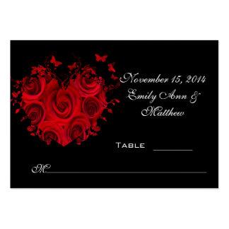 Tarjeta roja y negra del lugar de la tabla de tarjetas de visita grandes