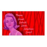 Tarjeta roja y rosada de 60s retro de los peluquer tarjetas personales