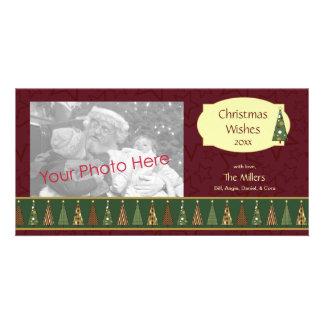 Tarjeta roja y verde acogedora de la foto del árbo tarjetas fotográficas personalizadas