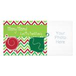 Tarjeta roja y verde de la foto del día de fiesta/ tarjeta personal