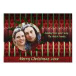 Tarjeta roja y verde de la foto del navidad del comunicados personalizados