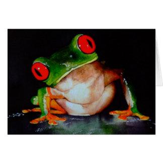 tarjeta Rojo-observada de la rana arbórea