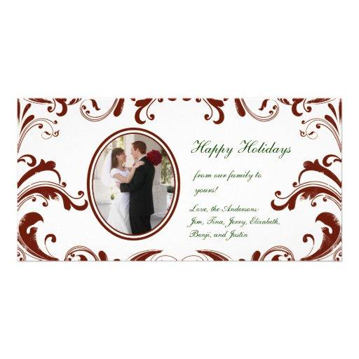 Tarjeta rojo oscuro de la foto de los Flourishes Tarjetas Con Fotos Personalizadas