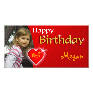 Tarjeta romántica de la foto del feliz cumpleaños tarjeta fotográfica personalizada