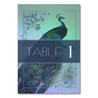 Tarjeta romántica de la tabla del pavo real