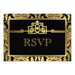 Tarjeta romántica de oro V2 de RSVP del art déco Comunicado Personalizado