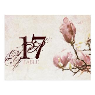 Tarjeta romántica del número de la tabla de la postal