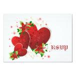 Tarjeta romántica roja de RSVP de los corazones Invitación 8,9 X 12,7 Cm