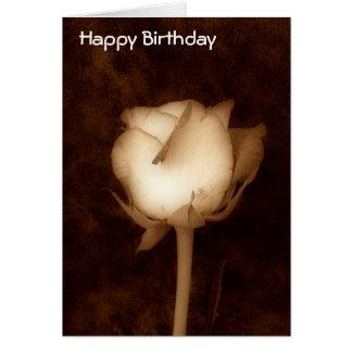 Tarjeta-Rosa del cumpleaños en sepia Tarjeta De Felicitación
