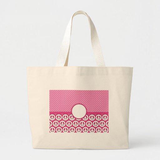 Tarjeta rosada adaptable del símbolo de paz bolsa de mano