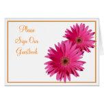 Tarjeta rosada anaranjada de la muestra del boda d