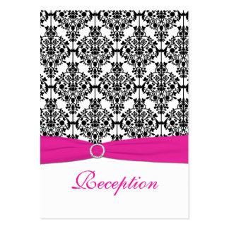 Tarjeta rosada, blanca y negra de la recepción del tarjeta de visita