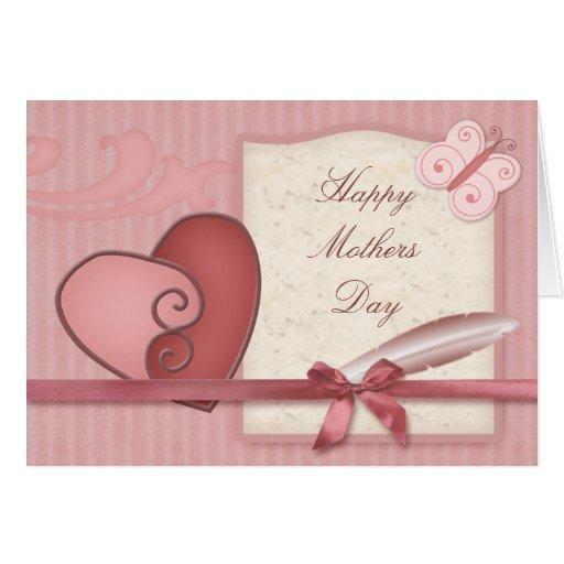 Tarjeta rosada bonita del día de madres de Lovehea