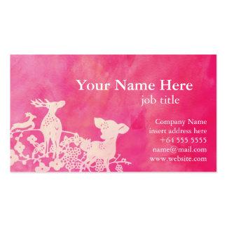 Tarjeta rosada bonita del perfil de los ciervos plantilla de tarjeta de negocio