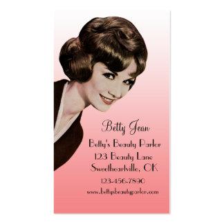 Tarjeta rosada Bouffant del Hairstylist del vintag Tarjeta De Negocio