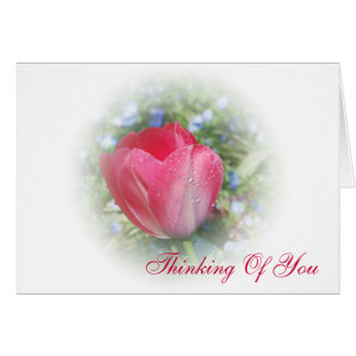 Tarjeta rosada brumosa del tulipán