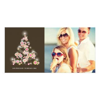 Tarjeta rosada chispeante de la foto del día de tarjeta fotográfica personalizada